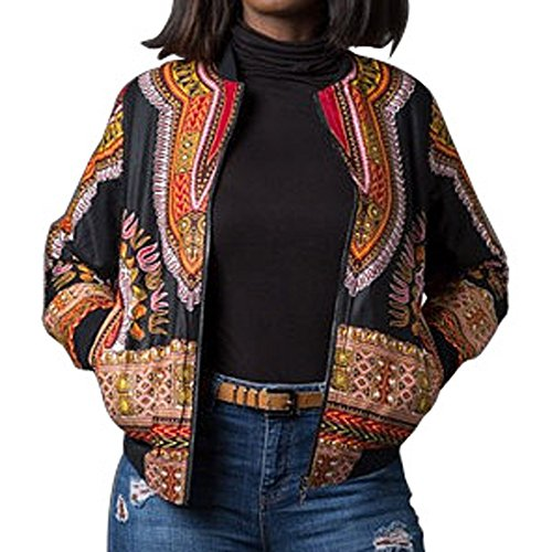 WEUIE Clearance Sale Women Dashiki Long Sleeve Fashion African Print Dashiki Short Casual Jacket (L,Black) ()