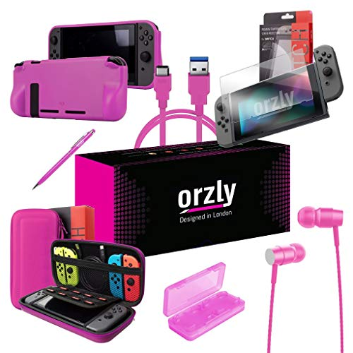 Orzly Switch Accessories Bundle, Pink Orzly Carry Case for Nintendo Switch Console, Tempered Glass Screen Protectors, USB Charging Cable, Switch Games Case, Comfort Grip Case, Headphones) Pink from Orzly