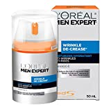 L'Oreal Paris Men Expert Wrinkle De-Crease, Daily Anti Wrinkle Moisturizing Cream With Vitamin E, For Aging Skin, 50 ML