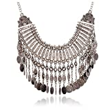 Vintage Women Bohemian Coin Statement Bib Necklace Festival Turkish Tribal Jewelry Necklace Pendant (Silver 1)