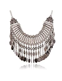 Vintage Women Bohemian Coin Statement Bib Necklace Festival Turkish Tribal Jewelry Necklace Pendant