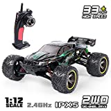 GPTOYS RC Truck 33MPH 2.4GHz 2WD Off Road Water-Resistant Monster Remote Control Car, 1/12 Scale - 3.0 Version (Green#1)