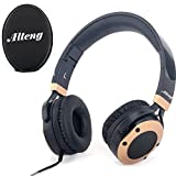 Active Noise Cancelling Over Ear Headphones with Microphone and Airplane Adapter, Alteng J19 Folding and Lightweight Travel Headsets, Hi-Fi Deep Bass Wired Headphones With Carrying Case - Black