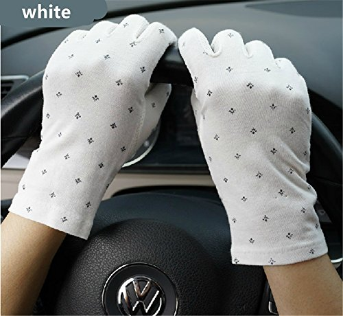 Women's Summer Driving Gloves Dots Sun Uv Protection Outdoor 100% Cotton White