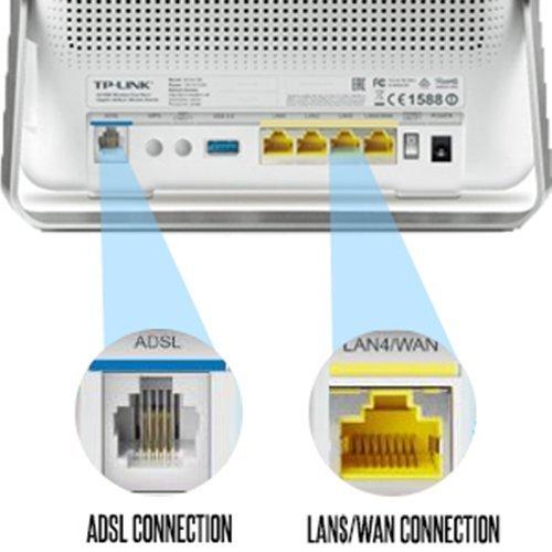 TP-Link Archer D9 AC1900 Wireless Dual Band Gigabit ADSL2+ Modem Router, 2.4GHz 600Mbps+5GHz 1300Mbps, Beamforming, 1 USB 3.0 Port & 1 USB 2.0 Port, EWAN, IPv6, Guest Network