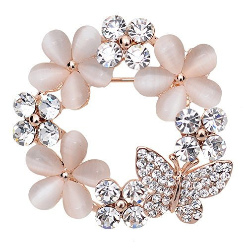 Maikun Clear Rhinestone Opal Cute Butterfly Flower Brooch White Gift for Valentine's Mother's Day Butterfly Design Brooch