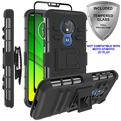 Moto G7 Power Case,Moto G7 Supra Case, ChangeJ Military Grade Protection with Tempered Glass Screen Protector Holster Belt Clip Amor Case for Motorola Moto G7 Power/Supra - Black