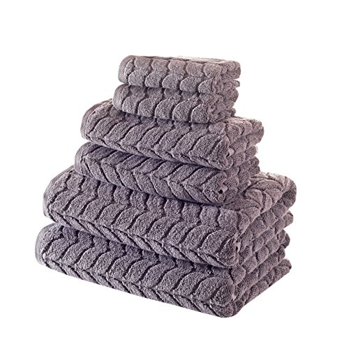 - Bagno Milano Jacquard-Woven Towels - Ultra-Absorbent & Fast-Drying Spa Towels - Non-GMO Turkish Cotton Towels - Durable & Plush Luxury Towels - Eco-Friendly Towels - Soft Spa Towel Bundle- Grey 6 Pcs