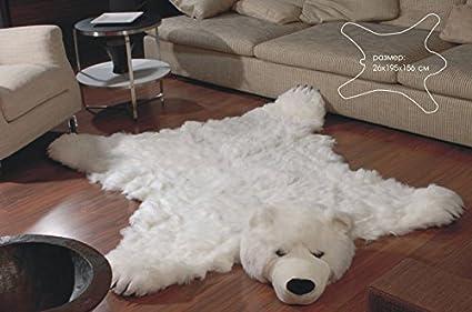 Fake Bear Rug >> Fake Faux Fur White Bear Skin Bearskin Rug King Large Size 76 5 61