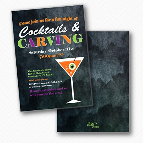 Cocktails & Carving Halloween Party Invitations | Envelopes Included]()