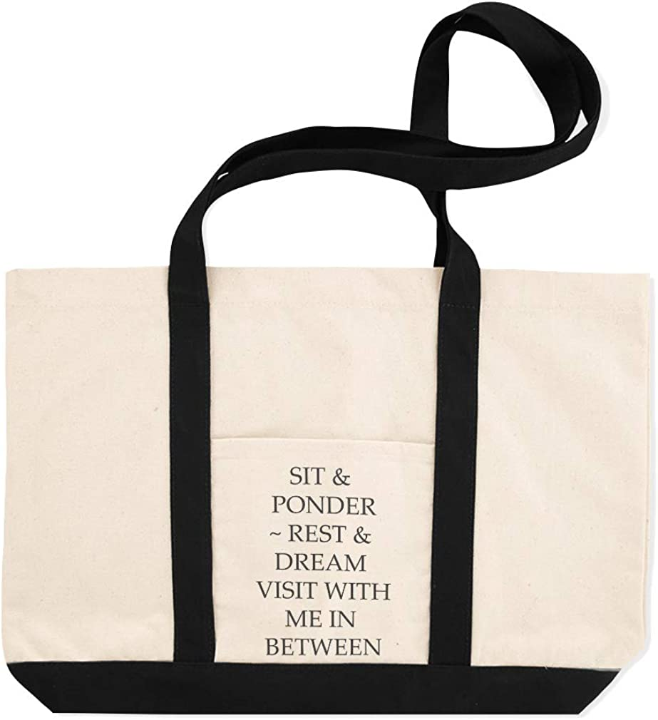 Canvas Shopping Tote Bag Sit /& Ponder-Rest Dream Visit with Me in Between Luck Beach for Women