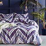 Purple Duvet Covers and Curtains Hyprest Marbling Duvet Cover Set Queen/King/Twin Lightweight Soft White 3PC Comforter Cover Set Hotel Quality Marble Design (Queen, Purple Block)