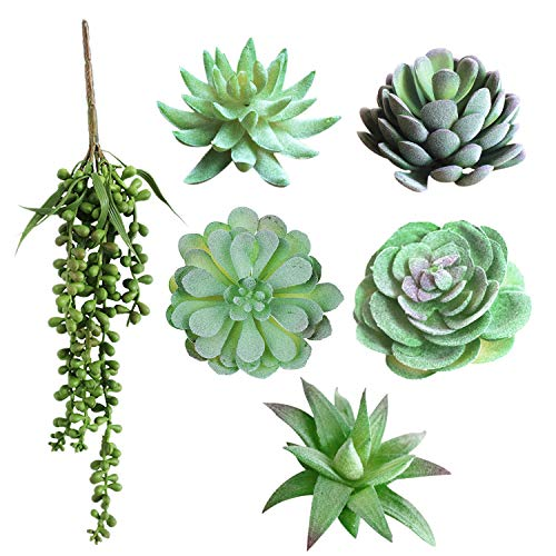 Sunm boutique 6 Pcs Unpotted Artificial Succulents Assorted Faux Succulent in Different Green Hanging for Home Wedding Centerpieces