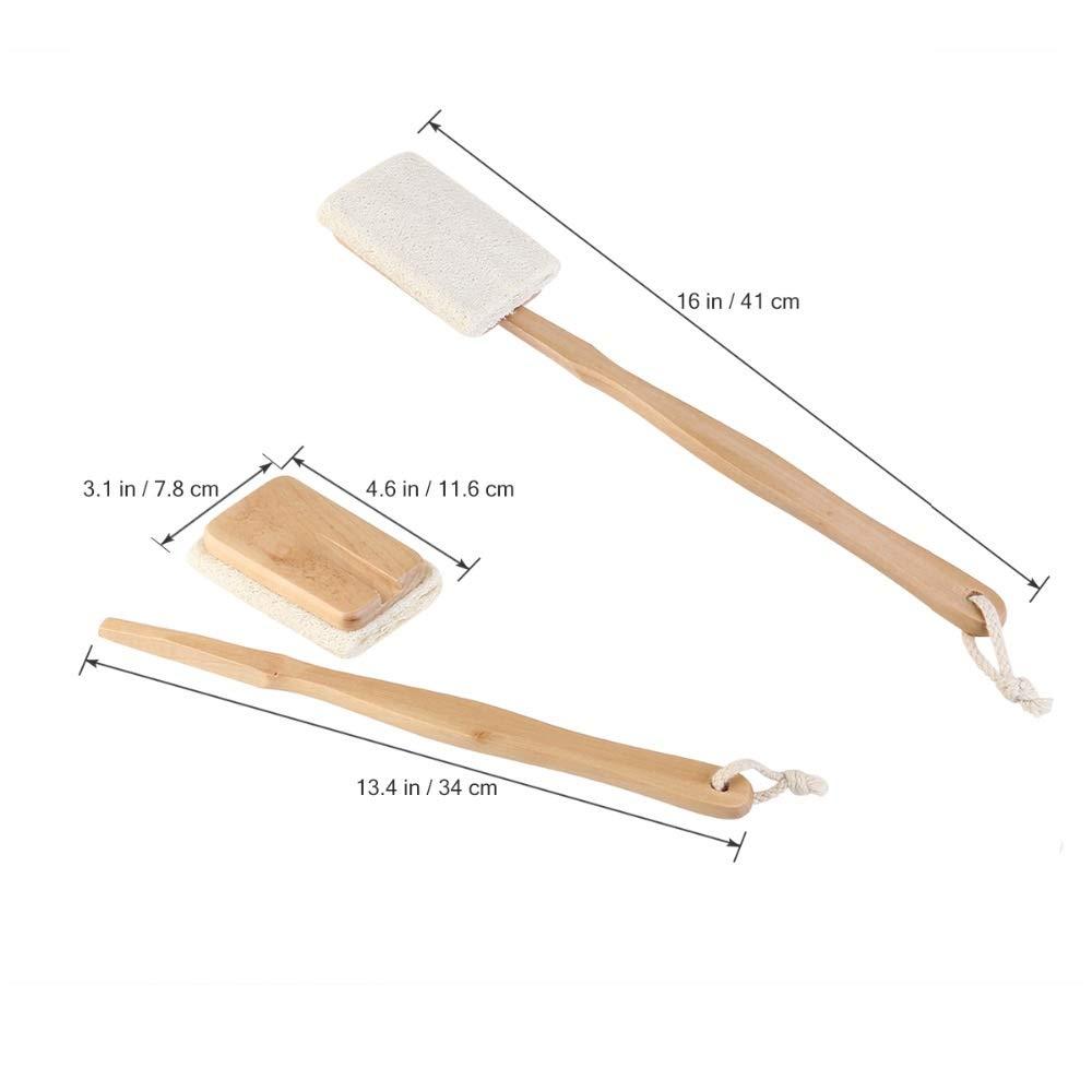 HVTKL Cepillo de la Ducha del Cuerpo del ba/ño de la Esponja Natural del loofah con el Cepillo de Limpieza de la manija Larga