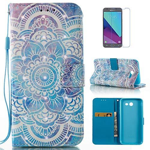 mellonlu Galaxy J3 Emerge Case, Galaxy J3 Prime Case, J3 Luna Pro Case, Galaxy J3 2017/J3 Mission/J3 Eclipse/Sol 2/Amp Prime 2/Express Prime 2 Case, Wallet Flip Leather Case for J3 2017
