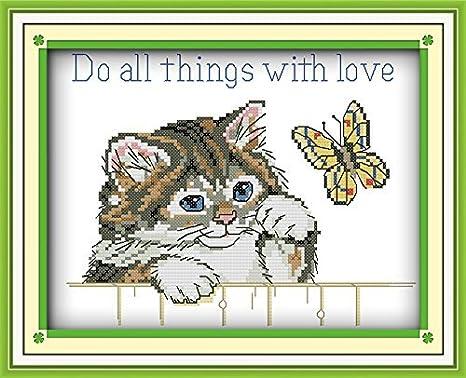 Happy Forever juego de punto de cruz, animales gato y mariposas, hacer todas las cosas con amor: Amazon.es: Juguetes y juegos