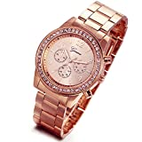 Lancardo Fashion Rose Gold Chronograph Unisex Style Metal Link Watch with Gift Bag