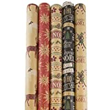 JAM PAPER Assorted Gift Wrap Christmas Kraft Wrapping Paper 125 Sq'