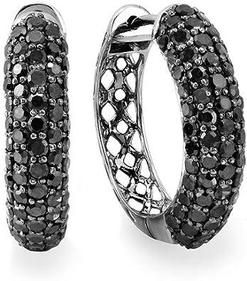 DazzlingRock - Pendientes de aro de oro blanco de 10 quilates con diamantes redondos para hombre, chapados en negro (3,50 quilates, color negro, claridad opaca)