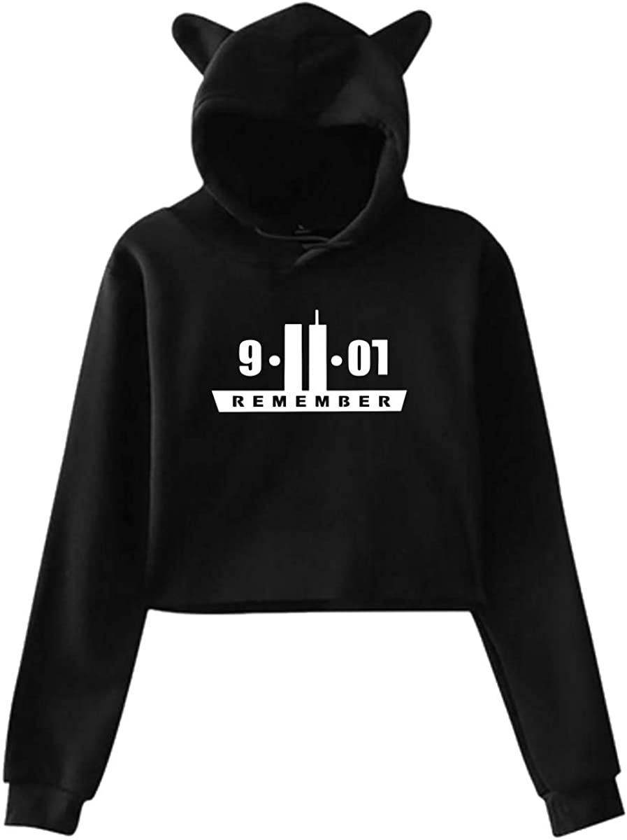 Womens Cute Cat Ear Hoodie Sweatshirts Remember 9.11 Midriff-Baring Hooded Pullover