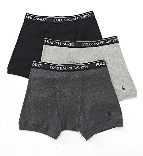 Polo Ralph Lauren Classic Cotton Boxer Brief 3 Pack  L  Grey Assorted