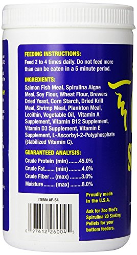 Picture of Zoo Med Spirulina 20 Flake Fish Food, 4-Ounce (3 Pack)