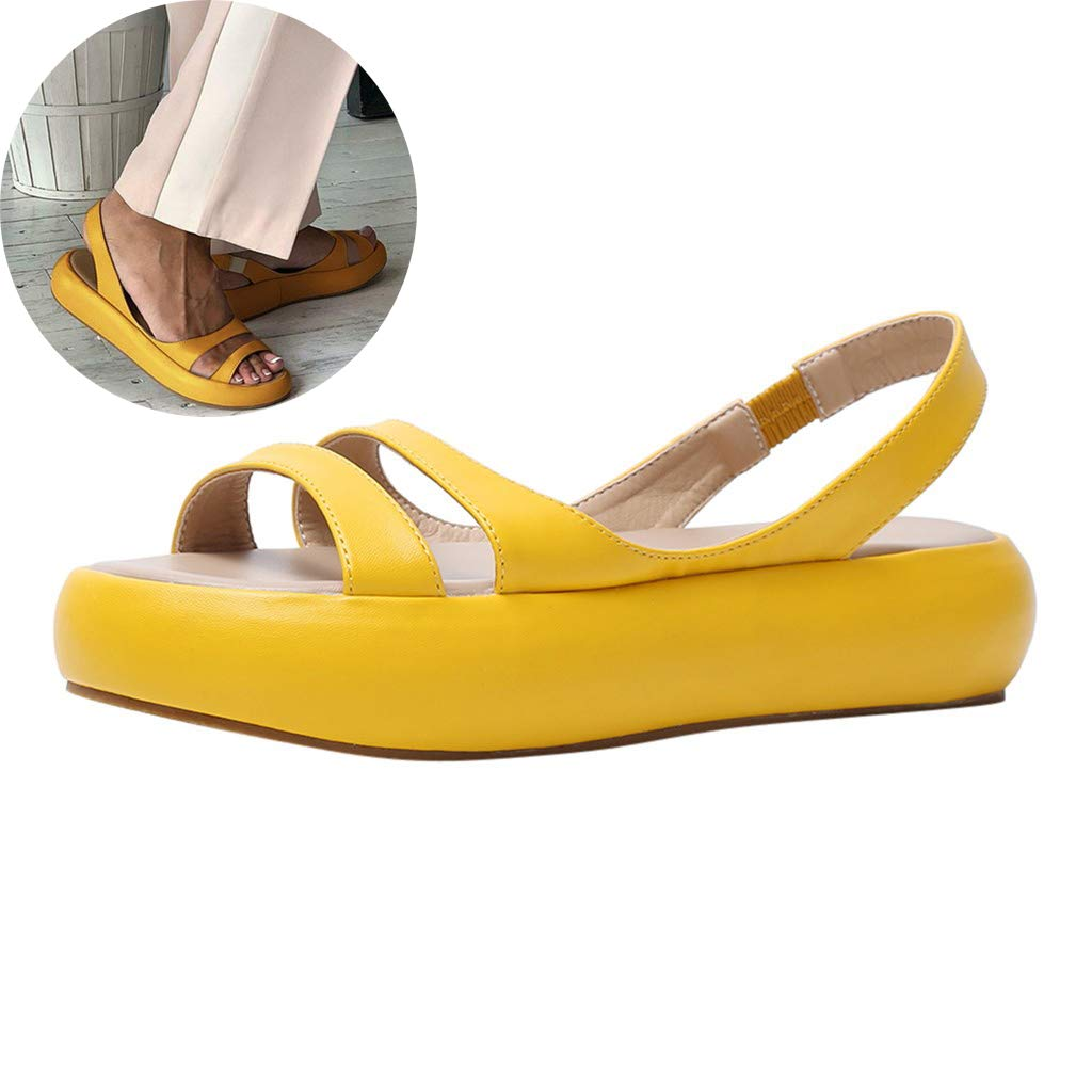 Clearance! Swiusd Womens Girls Flat Buttom Sandals Air Cushion Soft Comfy Elastic Strap Casual Shoes PU Leather Platform Sandals (Yellow, 8) by Clearance! Swiusd