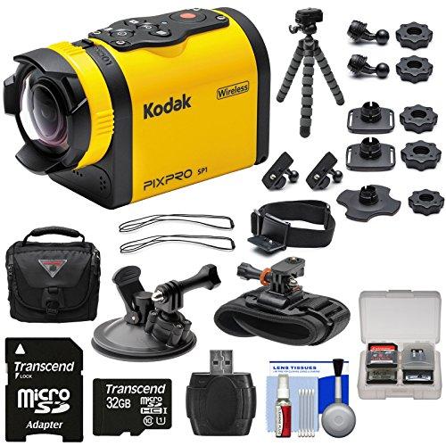 Kodak PixPro SP1 Video Action Camera Camcorder - Aqua Sport Pack with Suction Cup & Wrist Mounts + 32GB Card + Case + Tripod + Kit