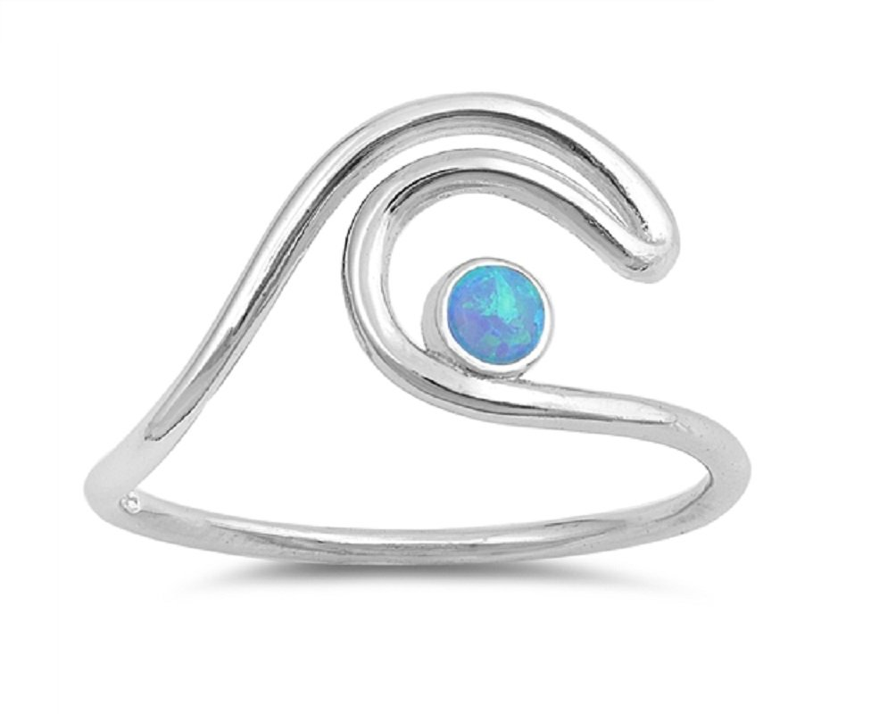 CloseoutWarehouse Blue Simulated Opal Wire Wave Ring Sterling Silver Size 12
