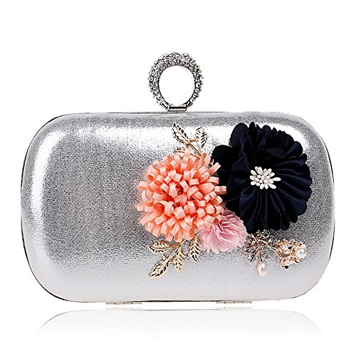 For With Flower Bags silver Women Diamonds Bag Shoulder Finger Evening Bags Party Ring Evening Purse Day TuTu Clutches Metal Chain wFaxqB1BS