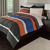 7 Piece Boys Queen Rugby Stripes Bed in a Bag Comforter Set with Sheet Set, Orange Blue White Black Striped Pattern, Beautiful Colors