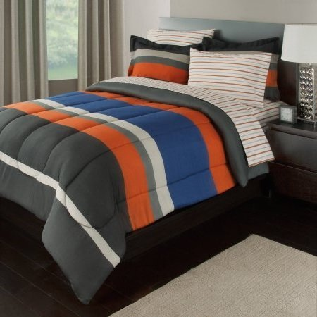 7 Piece Boys Queen Rugby Stripes Bed in a Bag Comforter Set with Sheet Set, Orange Blue White Black Striped Pattern, Beautiful Colors by OS