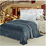 Deluxe Super Soft Luxurious Micro Plush Flannel Blanket - KING Size - GREY