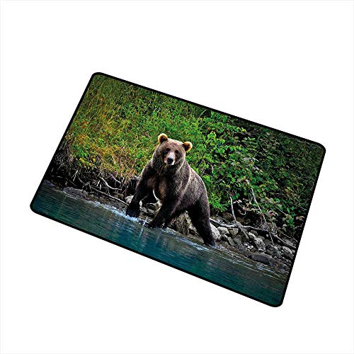 Cabin Decor Commercial Grade Entrance mat Grizzly Brown Bear in Lake Alaska Untouched Forest Jungle Wildlife Image for entrances garages patios W15.7 x L23.6 Inch Green Brown Blue ()