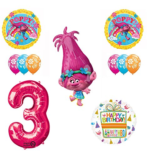 TROLLS 3rd Birthday Party Supplies and Poppy Balloons Bouquet Decoration