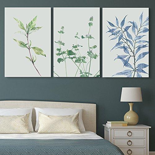 3 Panel Retro Style Plants Gallery x 3 Panels