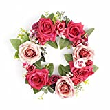 FAVOWREATH Romantic Series FAVO-W20 Handmade 13 inch Red and Pink Roses Silk Flowers Dry Branch Wreath For Spring/Summer/Fall Festival Celebration Front Door/Wall/Fireplace Wedding Hanger Home Decor
