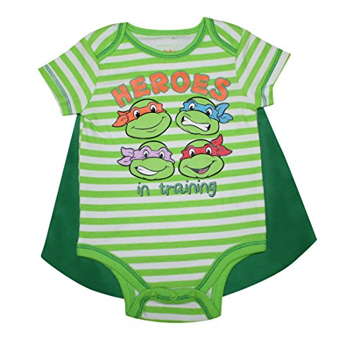 2 PCS SET Baby Boys TEENAGE MUTANT NINJA TURTLES One-Piece Romper with Removable Cape 6-9M (Tmnt Outfit)