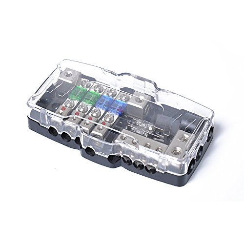 Car Audio Stereo ANL Fuse Holder Distribution 0/4ga 4 Way Fuses Box Block 30A 60A 80Amp Red LED