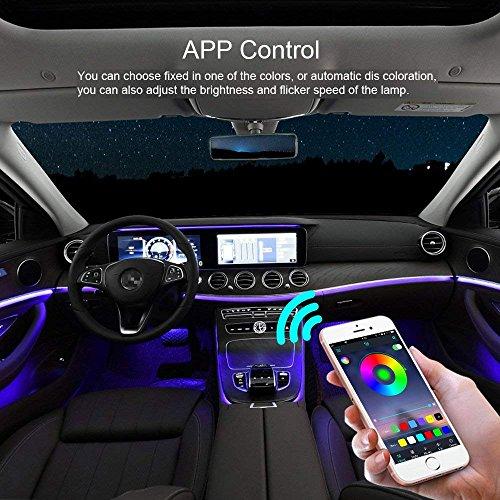 Strisce Led Per Auto Interni.Led Auto Interni Smiler Striscia Led Auto Con App 48 Led Luci Abitacolo Auto 8 Colori Auto Interno Decorativo Impermeabile Multicolori Suono
