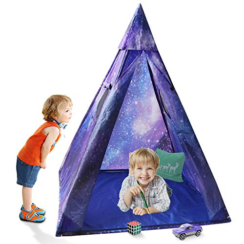 (Indoor Kids Teepee Play Tent, Sunba Youth Outdoor  Galaxy Princess Tent Play House for Boys& Girls)