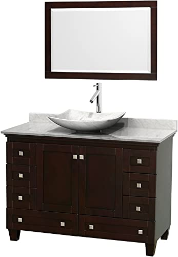 Wyndham Collection Acclaim 48 inch Single Bathroom Vanity in Espresso, White Carrara Marble Countertop, Arista White Carrara Marble Sink, and 24 inch Mirror