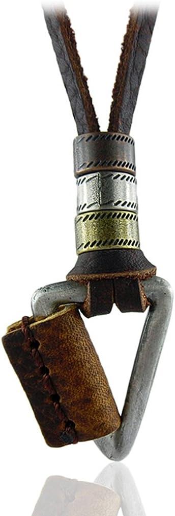 Coostuff Rock Jewelry Triangel Pendant Men Women Genuine Leather Necklace Adjustable Leather Rope