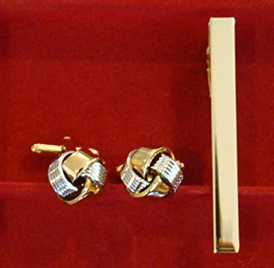 Gold & Silver Knot Cufflinks and Tie Bar Set!!! Wedding Fathers Day Birthday