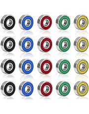 Rybtd 20 STUKS Skateboardlagers kleurenminiatuur, Dubbel afgeschermde lagers ABEC-9 608 2RS Skateboard Lager voor Lange Skateboards Vierwielige Skates Wielen Vervangende Lager