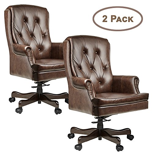 Halter HAL-070 Executive Grain Cow Leather Office Chair, Home & Office Computer Desk CEO Chair, Metal Base w/Wood Caps - Supports 500LBS 2 Pack