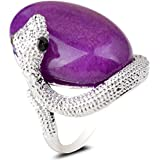 Purple Color Jade Stone Snake Shape 18K White Gold Plated Ring Fashion Jewelry LOVE STORY (8#)