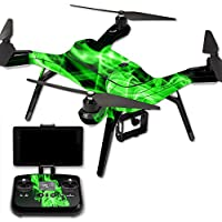 MightySkins Protective Vinyl Skin Decal for 3DR Solo Drone Quadcopter wrap cover sticker skins Green Flames