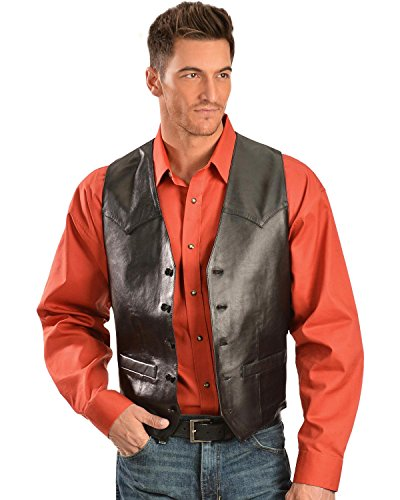 Black Lamb Leather - Scully Men's Lamb Leather Vest Black 44 R
