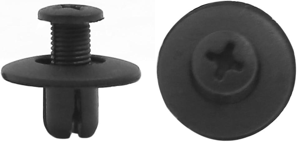 sourcingmap 20pcs Black Plastic Moulding Trim Panel Hood Screw Rivet 8mm